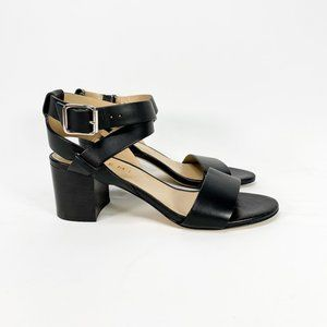 M. GEMI Black Leather Ankle Wrap Sandal Block Heel